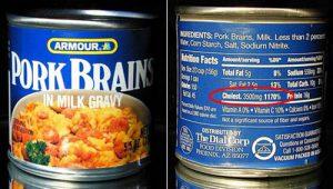can of pork brains in milk gravy