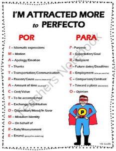 uses of por para in columns